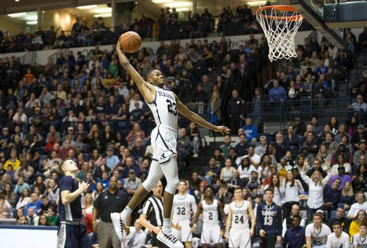 Ranney's Scottie Lewis soars during the Panthers' win over Manasquan in the 2019 Shore Conference Tournament final at Monmouth University.