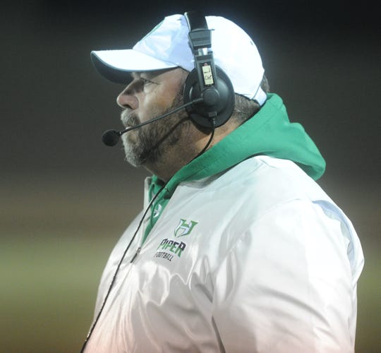 Hamlin football coach Russell Lucas looks on during the Region II-2A Division II final against Wellington on Dec. 6 in Vernon.