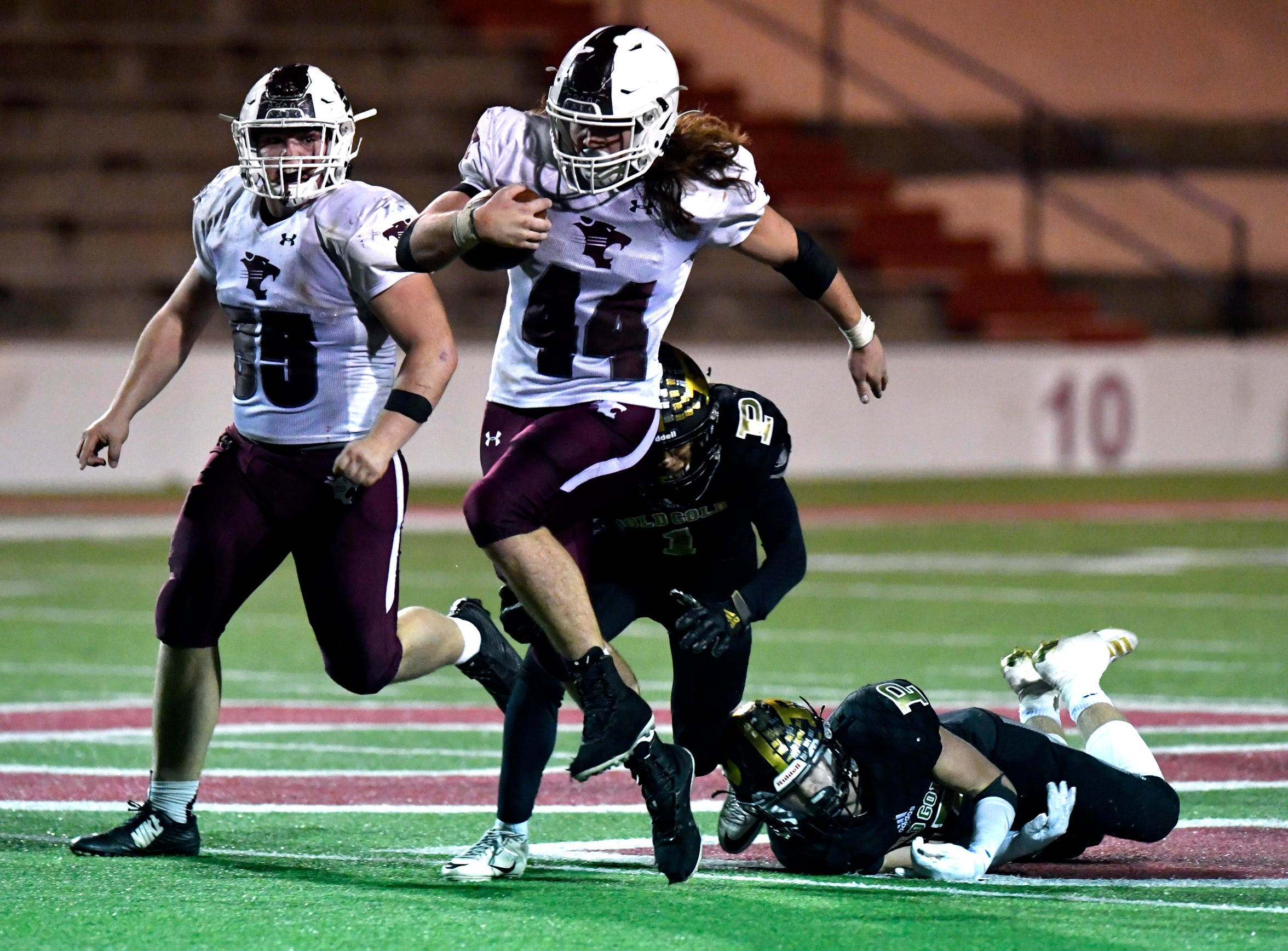 Hawley running back Colton Marshall runs for over 50 yards for a touchdown after returning to the game from an injury during the Region I-2A Division I final between the Bearcats and the Post Antelopes on Dec. 6. Post won the game 52-42.