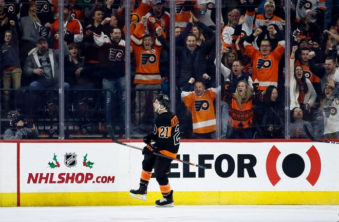 Scott Laughton had a goal and assist Saturday, and if it weren't for a recently broken finger he might've had a fight, too.