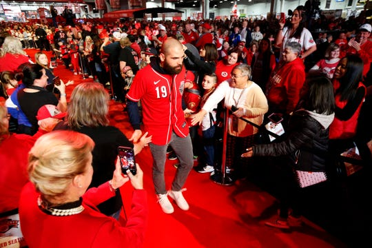 Cincinnati Reds first baseman Joey Votto takes the stage during RedsFest at the Duke Energy Convention Center in downtown Cincinnati on Friday, Dec. 6, 2019.