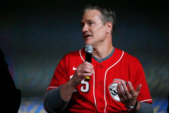 Cincinnati Reds manager David Bell answers questions during the Hot Stove Report segment during RedsFest at the Duke Energy Convention Center in downtown Cincinnati on Friday, Dec. 6, 2019.