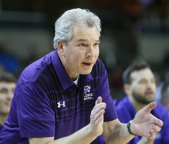 Elder head coach Joe Schoenfeld during the Panthers basketball game against Huntington Prep, during the Griffin Elite Prep School Classic, Saturday, Dec. 7, 2019.