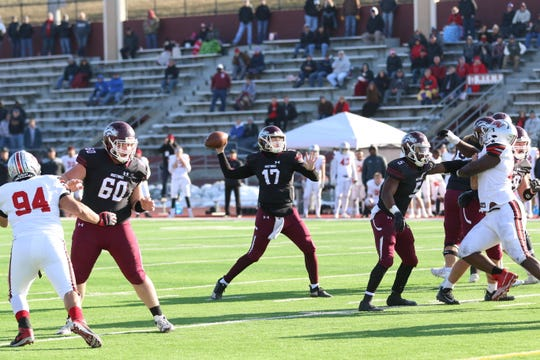 Morningside quarterback Joe Dolincheck (17) makes a throw during his team's NAIA playoff semifinal game against Grand View on Saturday, Dec. 7, 2019, in Sioux City.