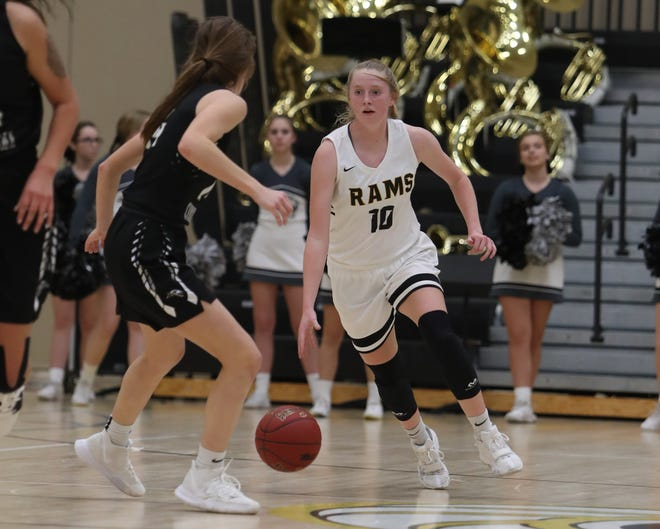 Southeast Polk's Grace Larkins (10) brings the ball up the floor against Ankeny Centennial in a Dec. 3 game at Southeast Polk won the game 53-44.