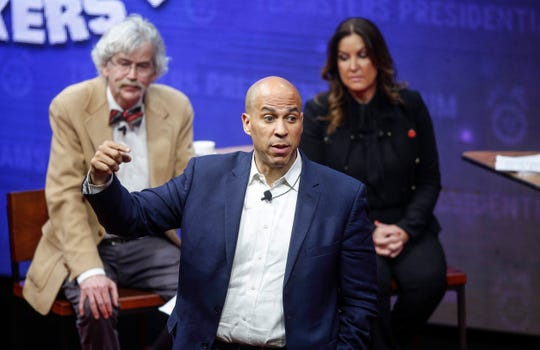 Democratic presidential candidate hopeful and New Jersey Sen. Cory Booker speaks during the Teamsters Presidential Candidate Forum at Veterans Memorial Coliseum in Cedar Rapids on Saturday, Dec. 7, 2019.