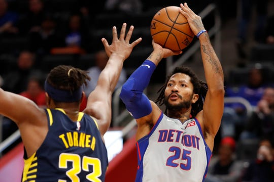 Derrick Rose takes a shot against Pacers center Myles Turner during the fourth quarter Friday.