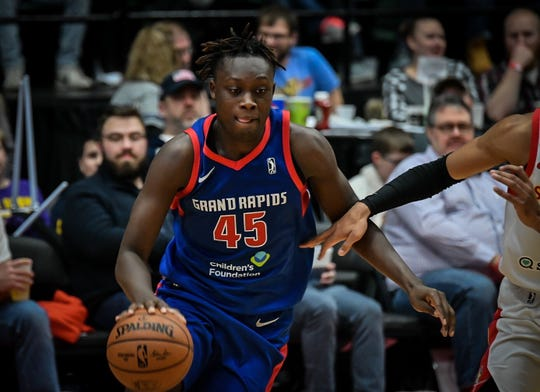 Sekou Doumbouya with the Grand Rapids Drive during a game Dec. 6, 2019.