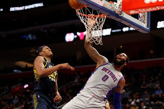 Detroit Pistons center Andre Drummond (0) goes up for a shot against Indiana Pacers center Myles Turner (33) during the fourth quarter at Little Caesars Arena on Dec. 6, 2019.