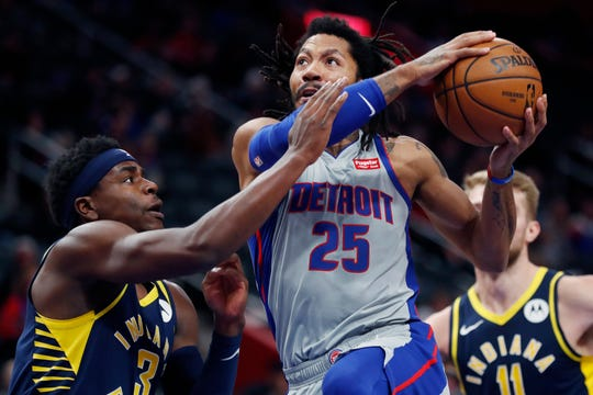 Pistons guard Derrick Rose is averaging 15.7 points while playing 24 minutes in his last six games.