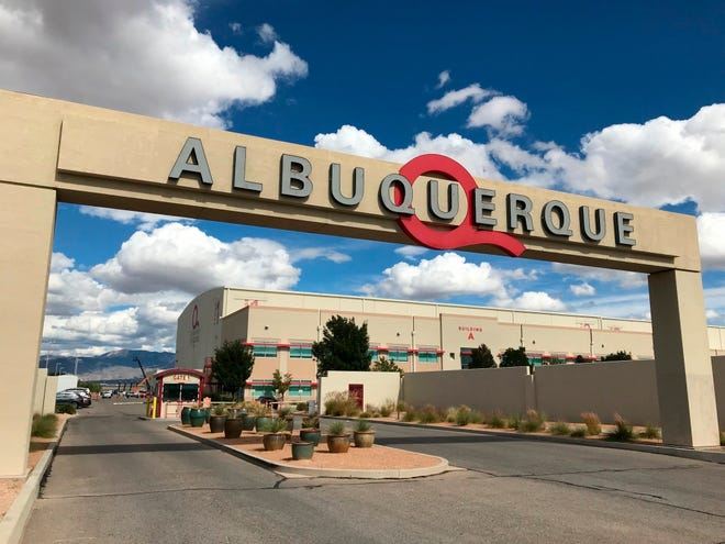 FILE - This Oct. 8, 2018, file photo shows the entrance to ABQ Studios in Albuquerque, N.M., where Netflix announced at the studio complex that it chose Albuquerque as a new production hub.