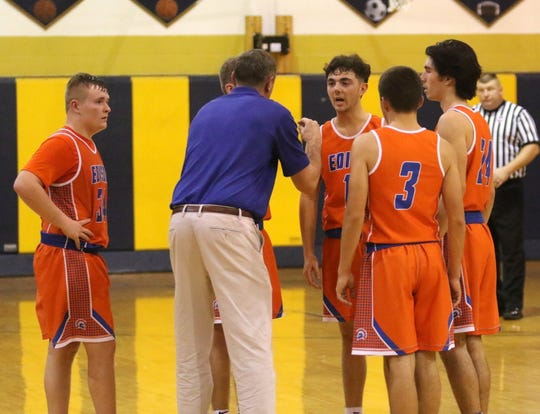 Thomas A. Edison head coach Lenny Smith talks to his players during a timeout in a 62-56 win over Elmira Notre Dame on Dec. 6, 2019 at Notre Dame High School.