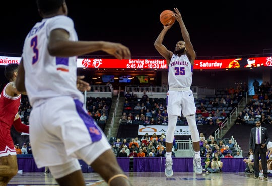 Evansville's John Hall (35) shoots a basket at the UE vs Miami University game at the Ford Center in Evansville, Saturday, Dec. 7, 2019.