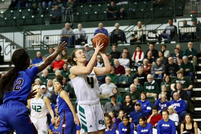UWGB junior guard Caitlyn Hibner missed the fourth quarter against DePaul on Saturday with a head injury.
