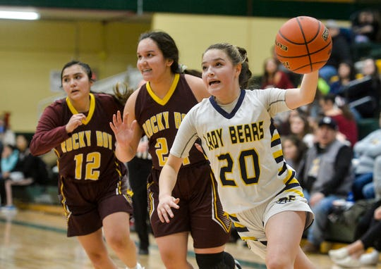 Box Elder's Brielle Sunchild drives to the basket during Friday's game against Rocky Boy at the 2019 Native American Basketball Classic.