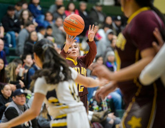 Rocky Boy's Sasha Coffee shoots from the outside at the Native American Basketball Classic against Box Elder this past December at the CMR Fieldhouse.