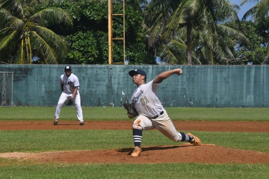 Notre Dame pitcher Nolan Cruz held down the Royals fort for the first five innings in his team's 5-4 victory over the Okkodo Bulldogs in IIAAG High School Baseball playoffs Dec. 7 at the Paseo Stadium.