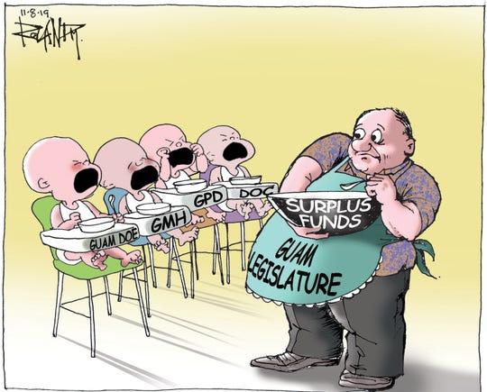 Sunday cartoon on surplus revenue.