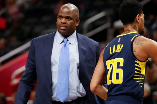 Indiana Pacers head coach Nate McMillan looks on during the third quarter against the Detroit Pistons at Little Caesars Arena.