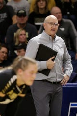 Purdue head coach Dave Shondell in the third set during a first round match of the NCAA Div I Women's Volleyball Championships, Friday, Dec. 6, 2019 in West Lafayette, Ind.