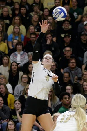 Purdue outside hitter Caitlyn Newton (4) returns the ball in the first set during a first round match of the NCAA Div I Women's Volleyball Championships, Friday, Dec. 6, 2019 in West Lafayette, Ind.