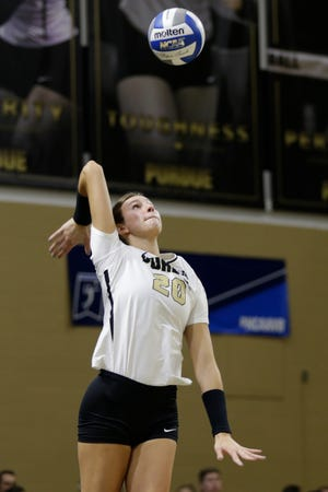 Purdue middle blocker Grace Cleveland (20) serves in the first set during a first round match of the NCAA Div I Women's Volleyball Championships, Friday, Dec. 6, 2019 in West Lafayette, Ind.