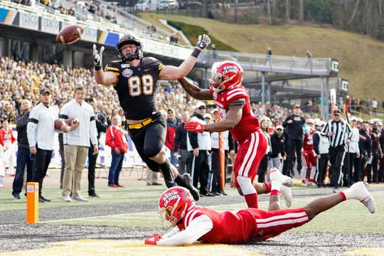Appalachian State tight end Henry Pearson (88) attempts to catch a pass against Louisiana-Lafayette  during the team's game in 2019 at Kidd Brewer Stadium.