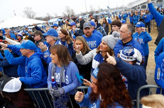 Fans watch as Memphis Tigers take their Tiger Walk before their AAC Championship game against Cincinnati at the Liberty Bowl on Saturday, Dec. 7, 2019.