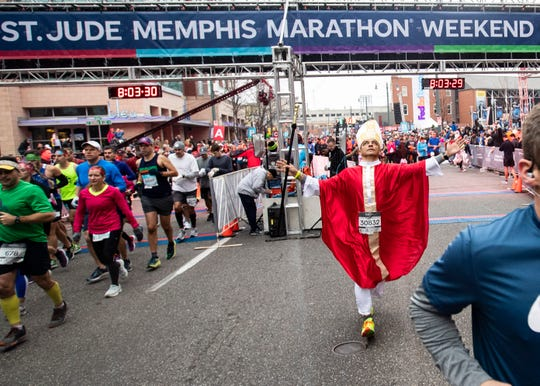 Nestor Anzola dressed as a bishop for the 2019 St. Jude Memphis Marathon Weekend on Saturday, Dec. 7, 2019.