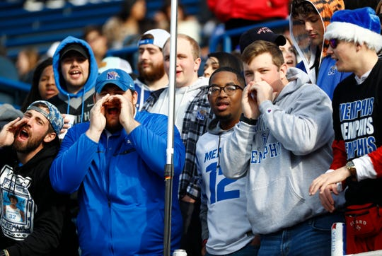 Memphis fans cheer on their team during warmups before their AAC Championship game against Cincinnati at the Liberty Bowl Memorial Stadium on Saturday, Dec. 7, 2019.