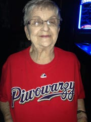 Marcy Skowronski wears her beloved Milwaukee Brewers shirt with their Polish name: Piwowarzy. Skowronski grew up in the heavily Polish south side neighborhood of Lincoln Village and lived there nearly her entire life, her family said.