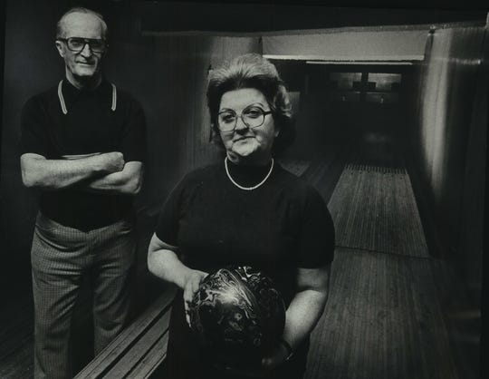 Photo from Jan. 5, 1978. Two bowling lanes operated by Gene and Marcy Skowronski in the basement of their establishment.