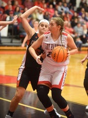 Norfork's Kynzie Rangel drives to the basket during a recent game against Calico Rock.