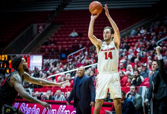 Ball State's Kyle Mallers shoots a three-pointer past IUPUI's defense during their game at Worthen Arena Saturday, Dec. 7, 2019.