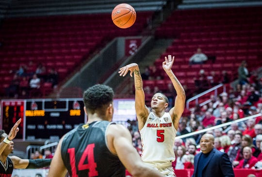 Ball State's Ishmael El-Amin shoots a three-pointer against IUPUI during their game at Worthen Arena Saturday, Dec. 7, 2019.