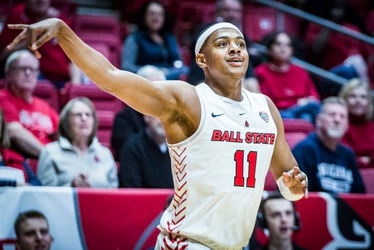 Ball State's Jarron Coleman watches a three-pointer go in during their game against IUPUI at Worthen Arena Saturday, Dec. 7, 2019.