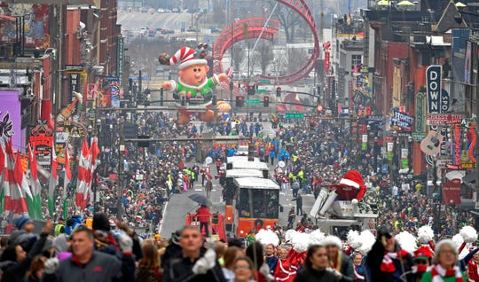 Thousands turn out for Nashville's 66th annual Christmas Parade Saturday Dec. 7, 2019, in Nashville, Tenn.