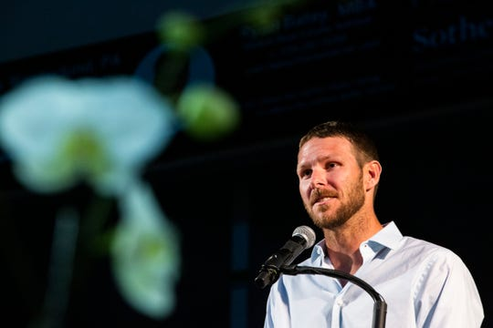 Former FGCU baseball ace, seven-time MLB All-Star and World Series Champion Chris Sale of the Boston Red Sox makes a $1 million gift to FGCU Athletics during Night at the Nest Gala on Friday, December 6, 2019, at Alice Arena in Florida Gulf Coast University.