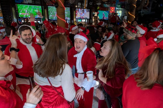 SantaCon participants at The Pig & Parrot in Hoboken on Saturday, December 7, 2019.