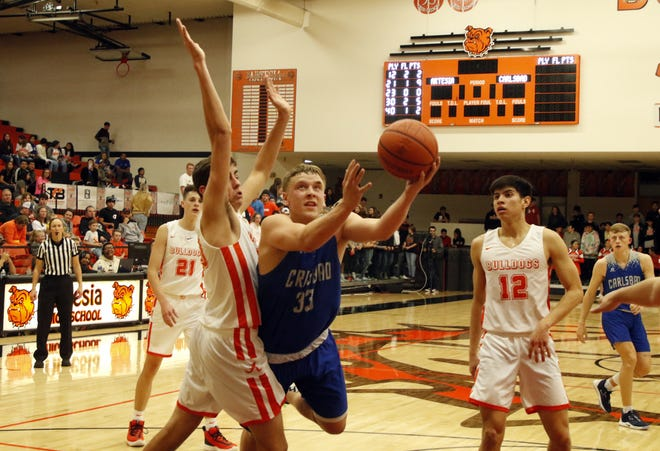 Carlsbad's Ayden Parent goes for a contested layup against Artesia during their game on Dec. 6, 2019. Parent scored six points and Carlsbad won, 47-36.