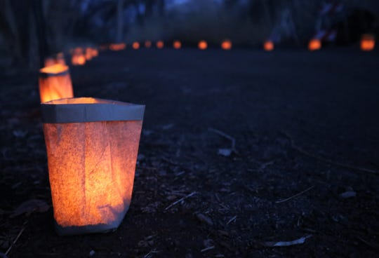 Luminarias line the path, Friday, Dec. 6, 2019, in Berg Park during Riverglo.