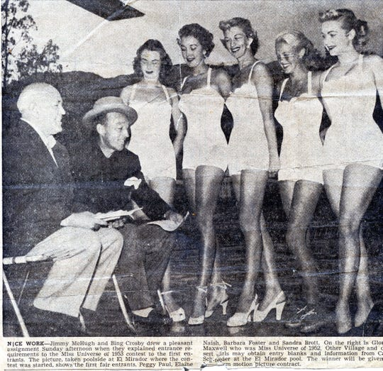 Jimmy McHugh and Bing Crosby judge the Miss Universe pageant 1953 at the El Mirador Hotel in Palm Springs.
