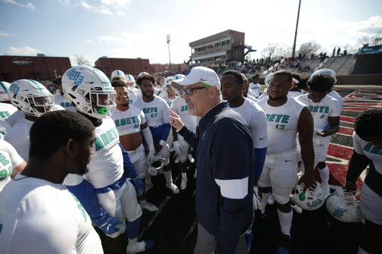 UWF head coach Pete Shinnick rallies his players before the Argos' contest against No. 6 Lenoir-Rhyne on Dec. 7, 2019.