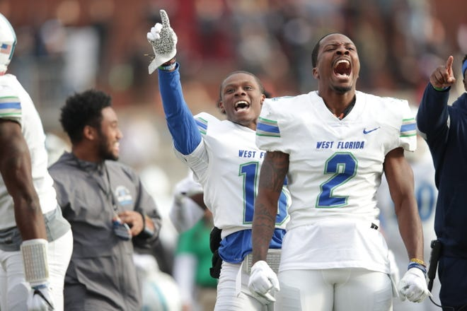 UWF linebacker Andre Duncombe celebrates during the Argos' 43-38 win over Lenoir-Rhyne in the playoffs on Dec. 7, 2019 in Hickory, North Carolina.