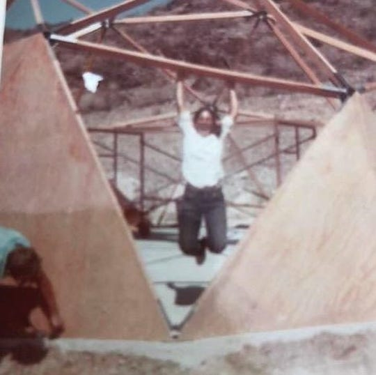 Francine Hardaway hangs out while John Hardaway works on the dome, the late 1960s.