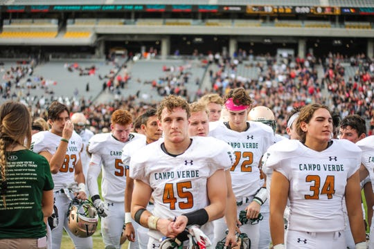Campo Verde Running Back Connor Calloway (45) looks to the stands after losing to Williams Field in the 5A State Championship on Dec. 7, 2019 in Tempe, AZ. (Brady Klain/The Republic)