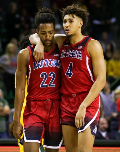 Dec 7, 2019: Arizona Wildcats forward Zeke Nnaji (22) and center Chase Jeter (4) talk as they walk back onto the court after a timeout during the second half against the Baylor Bears at Ferrell Center.