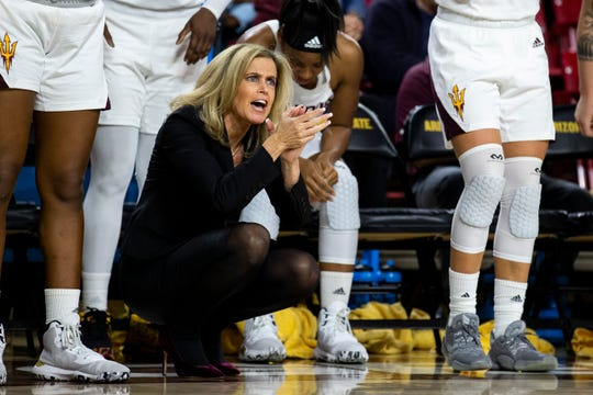 Arizona State head coach Charli Turner Thorne celebrates during the game against BYU in the 2nd half on Friday, Dec. 6, 2019, at Desert Financial Arena in Tempe, Ariz.