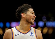 Dec 5, 2019: Phoenix Suns guard Devin Booker reacts during the second half against the New Orleans Pelicans at the Smoothie King Center.