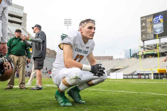 Campo Verde Senior Matthew Brudeseth squats after losing to Williams Field in the 5A State Championship on Dec. 7, 2019 in Tempe, AZ. (Brady Klain/The Republic)